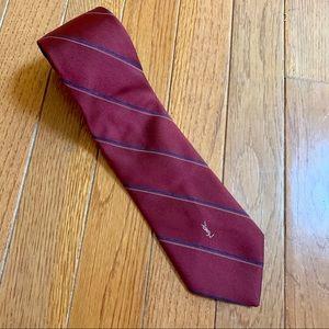 EUC - Yves Saint Laurent - Red Silk Monogram Tie
